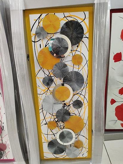 Cuadro G. Vidrio amarillo/gris circulos
