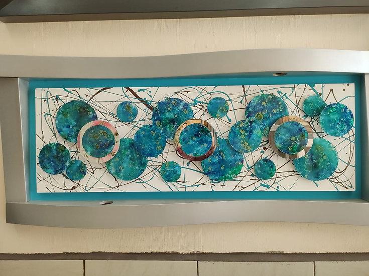 Cuadro G. vidrio azul circulos