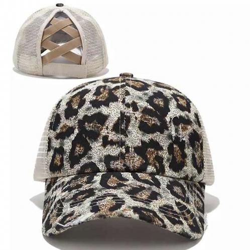 Leopard Ponytail Criss Cross Baseball Cap