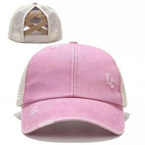 Vintage Pink Ponytail Criss Cross Baseball Cap