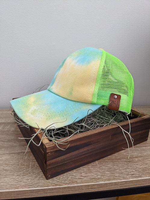 Tie Dye blue/green Ponytail Criss Cross baseball cap