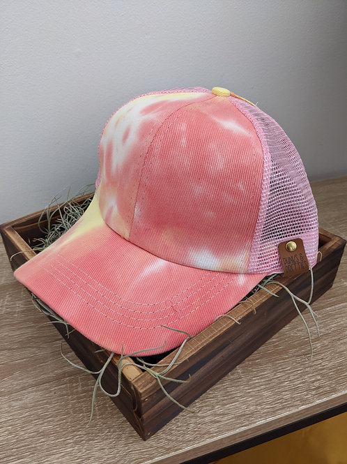 Tie Dye coral and yellow Ponytail Criss Cross baseball cap