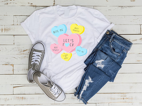 Adult Candy Hearts Shirt