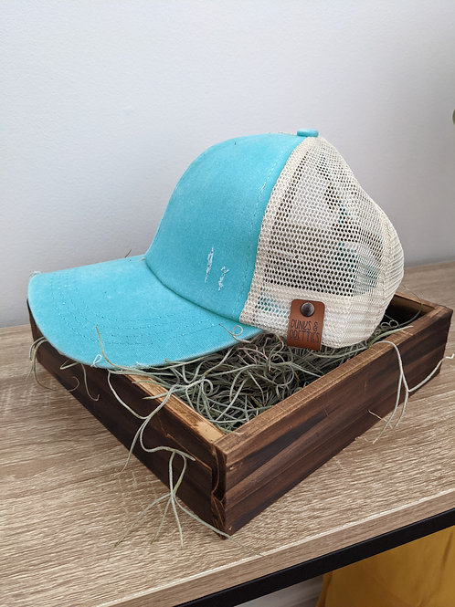 Teal Ponytail Criss Cross baseball hat