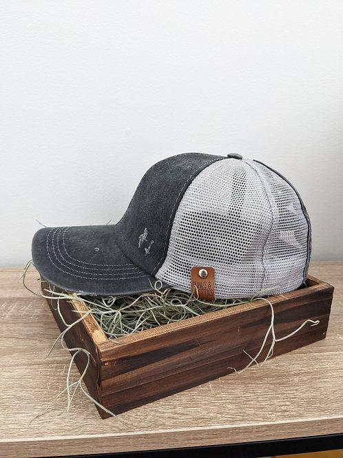 Black Vintage Ponytail Criss Cross baseball cap
