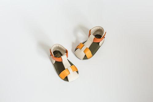 T-Strap Sandals Colorblock