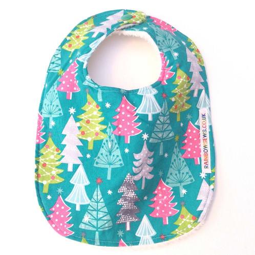 Turquoise Christmas Trees Bib