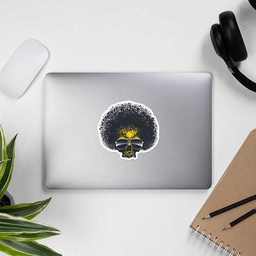 Afro Blow Out Skull Bubble-free stickers