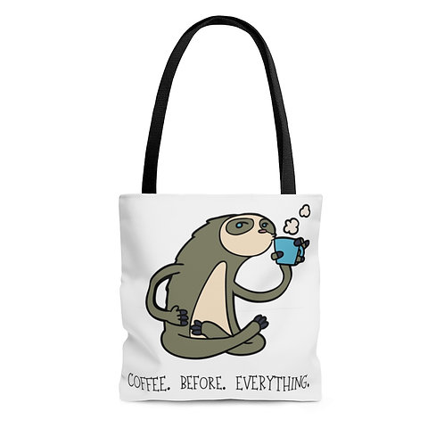 Coffee Before Everything Sloth AOP Tote Bag