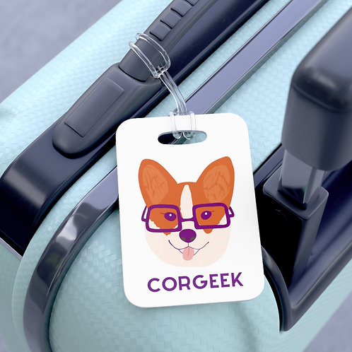 Corgi with Glasses Corgeek Luggage Bag Tag