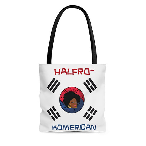 Black Korean Flag Afro Blasian Woman AOP Tote Bag