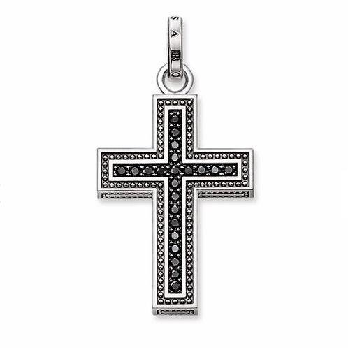 Anhänger Schwarzes Kreuz Pavé