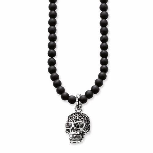 Obsidian Perlenkette m. Totenkopf