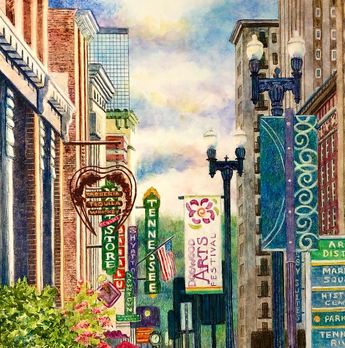 Downtown Signs with Dogwood Banner