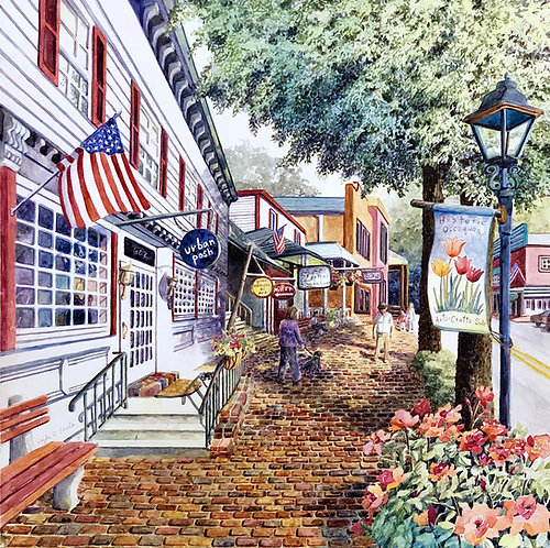 Urban Posh in Occoquan, Virginia  (Original Painting)