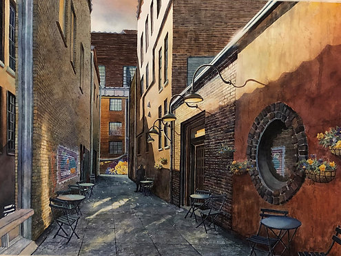 Wallflowers: A Knoxville Alley in Old City(Original Painting)