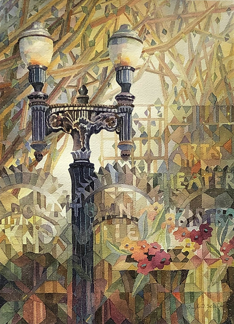 Lamppost with Shapes (Original Painting)