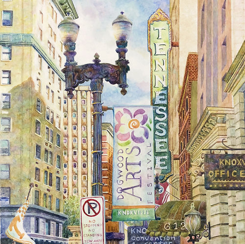 Downtown with Dogwood Arts Banner