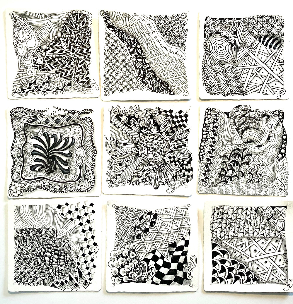 Zentangle is typically done on 3.5 x 3.5 inch paper using a Micron pen. Tiles also come in circular and triangular formats.  Each individual pattern is called a tangle.