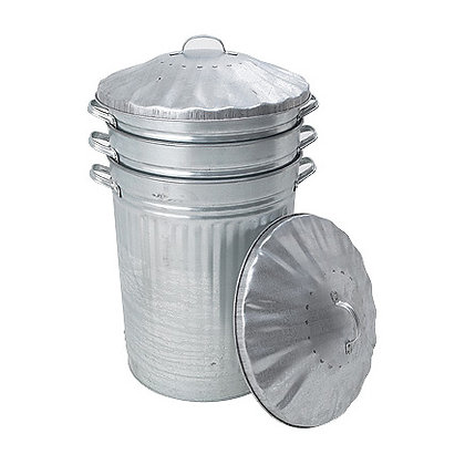 Galvinised Stackable Dustbin with Metal Lid 702311