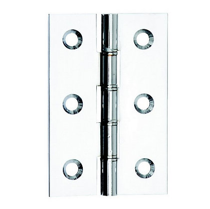 Butt Hinges Pair Polished Chrome Plated 1838 76mm DP006128