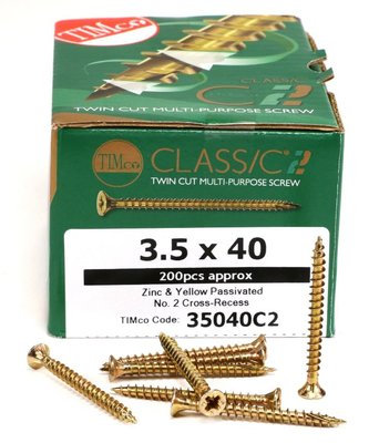 Classic C2 Twin Cut Multi-Purpose Screw 3.5 x 40mm Box of 200 - 35040C2