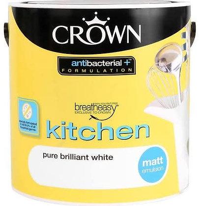 Crown Retail Kitchen Anti Bacterial Matt 2.5L Brilliant White