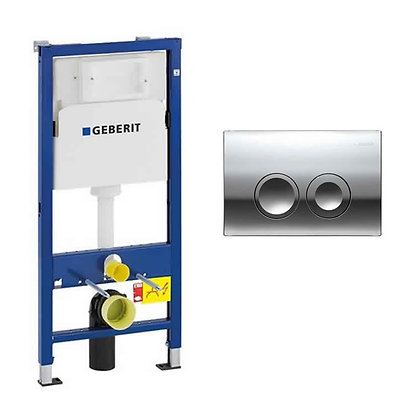Geberit Duofix 1120mm Wall Hung Cistern Frame & Delta21 Flush Plate
