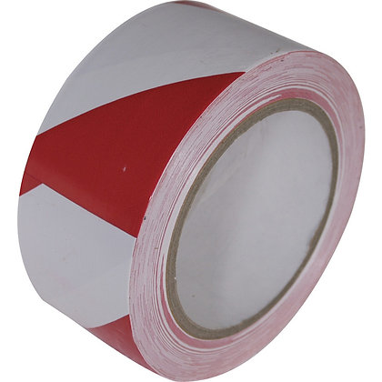Hazard Warning Tape Self Adhesive Red & White 50mm SEHT1