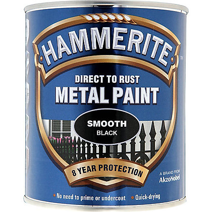 Hammerite Metal Paint 750ml SMOOTH BLACK