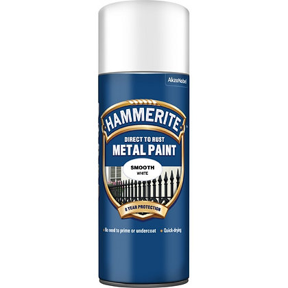 Hammerite Metal Paint Spray Can Aerosol 400ml SMOOTH WHITE