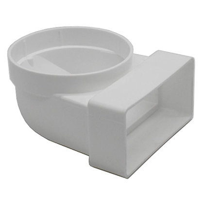 Flat Channel 90 degree Bend Rectangle to Round Socket White 53515061