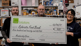 2020 Solutions donates $920 to Ephrata Food Bank