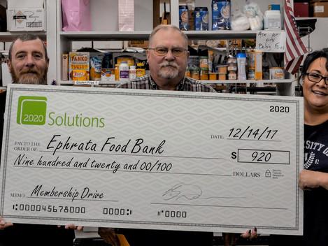 2020 Solutions donates $920 to Ephrata Food Bank