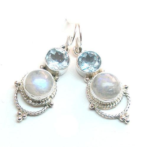 Lakshmi Moonstone + Blue Peridot Earrings