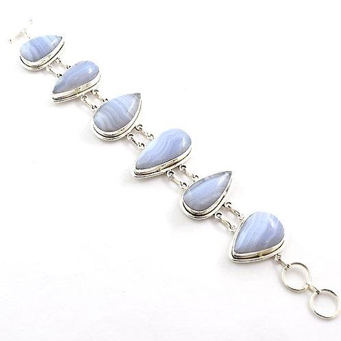 Iris Blue Lace Agate Tear Drop Bracelet