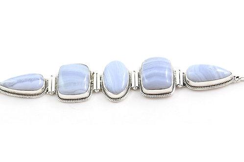 Iris Blue Lace Agate Stack Bracelet