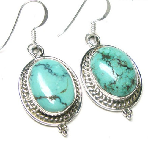 Rare Tibet Turquoise Drop Earrings
