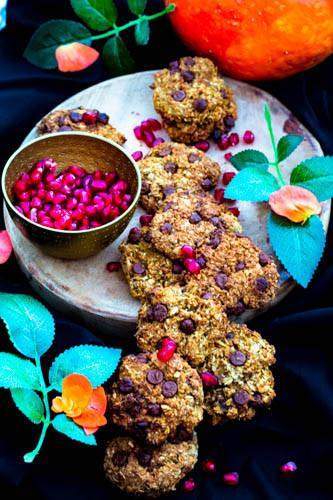 småkaker med gresskar og melkesjokolade
