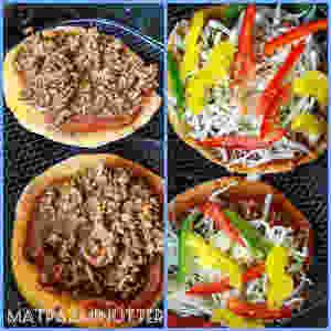Polarbrød med søtpotet som pizzabunn og rester av taco ble brukt som pizzafyll. Stekt i Airfryer på 180 grader i 7 minutter!