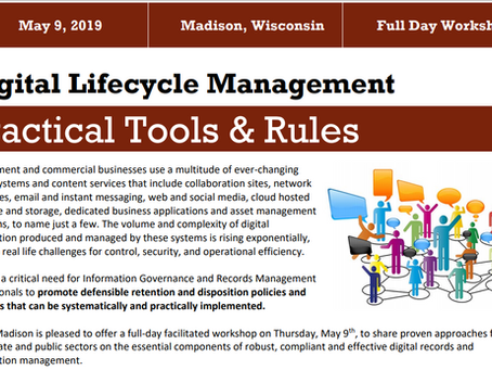 Proud Sponsor of the Madison ARMA Full Day Workshop on May 9, 2019