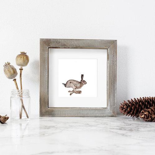 Mini 'Running Wild' Hare print - framed