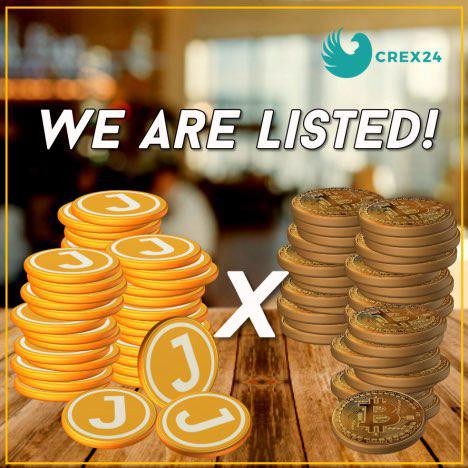 JOOPS Token gets listed on Crex24 exchange