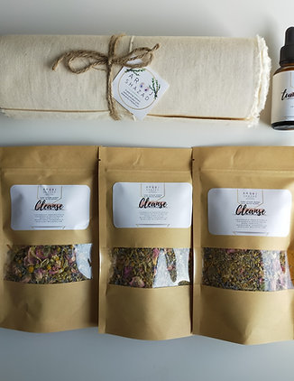 Belly bind postpartum recovery set.