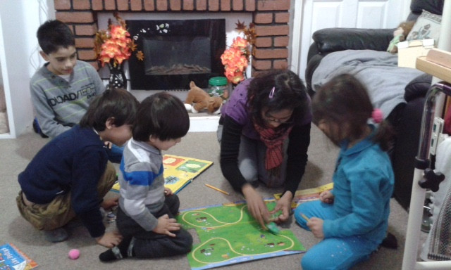 Art at home with one of our Syrian families
