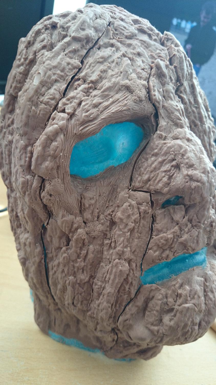 Face sculpt for Tree Man makeup