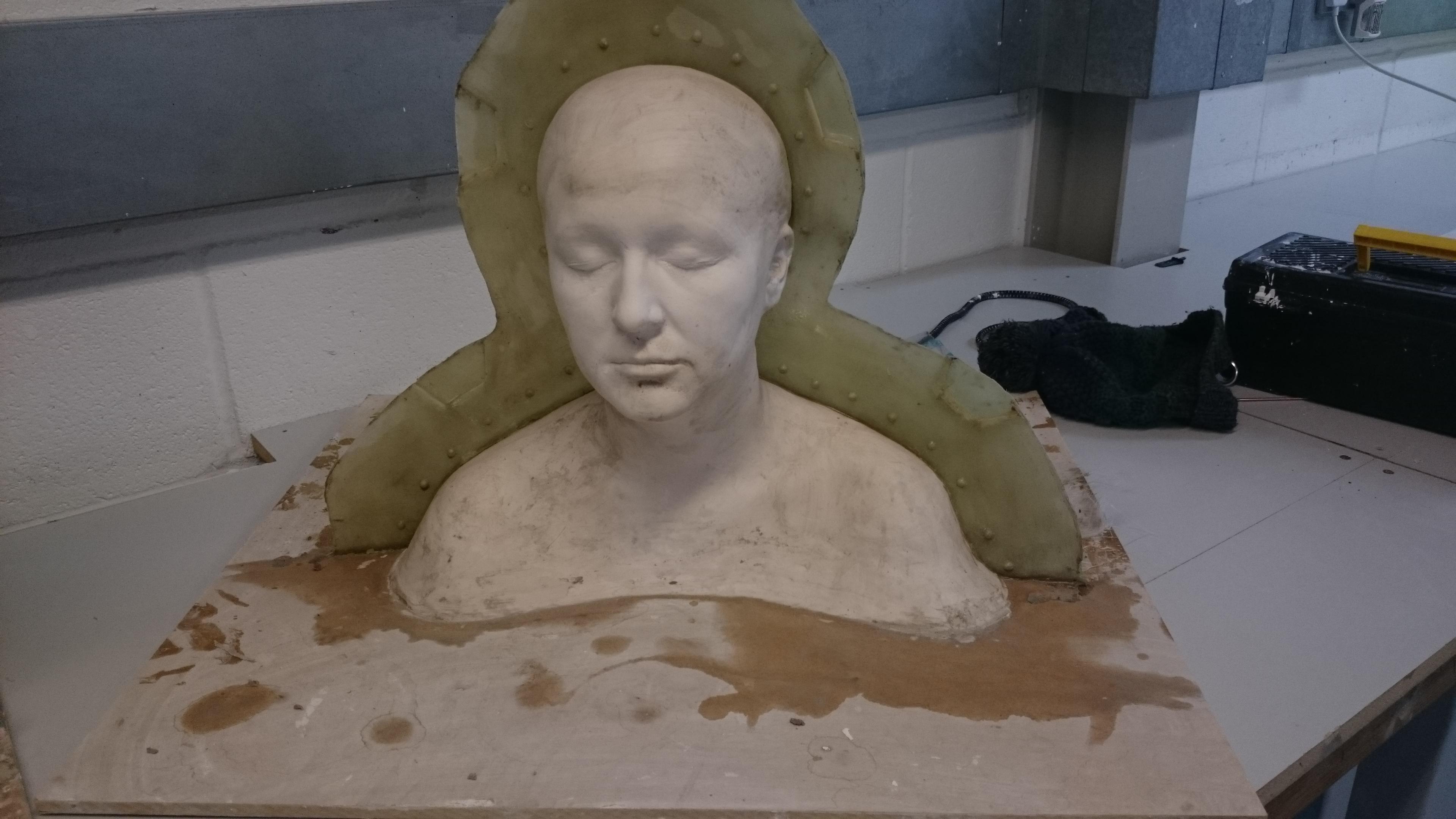 Fibreglass back to plaster life cast