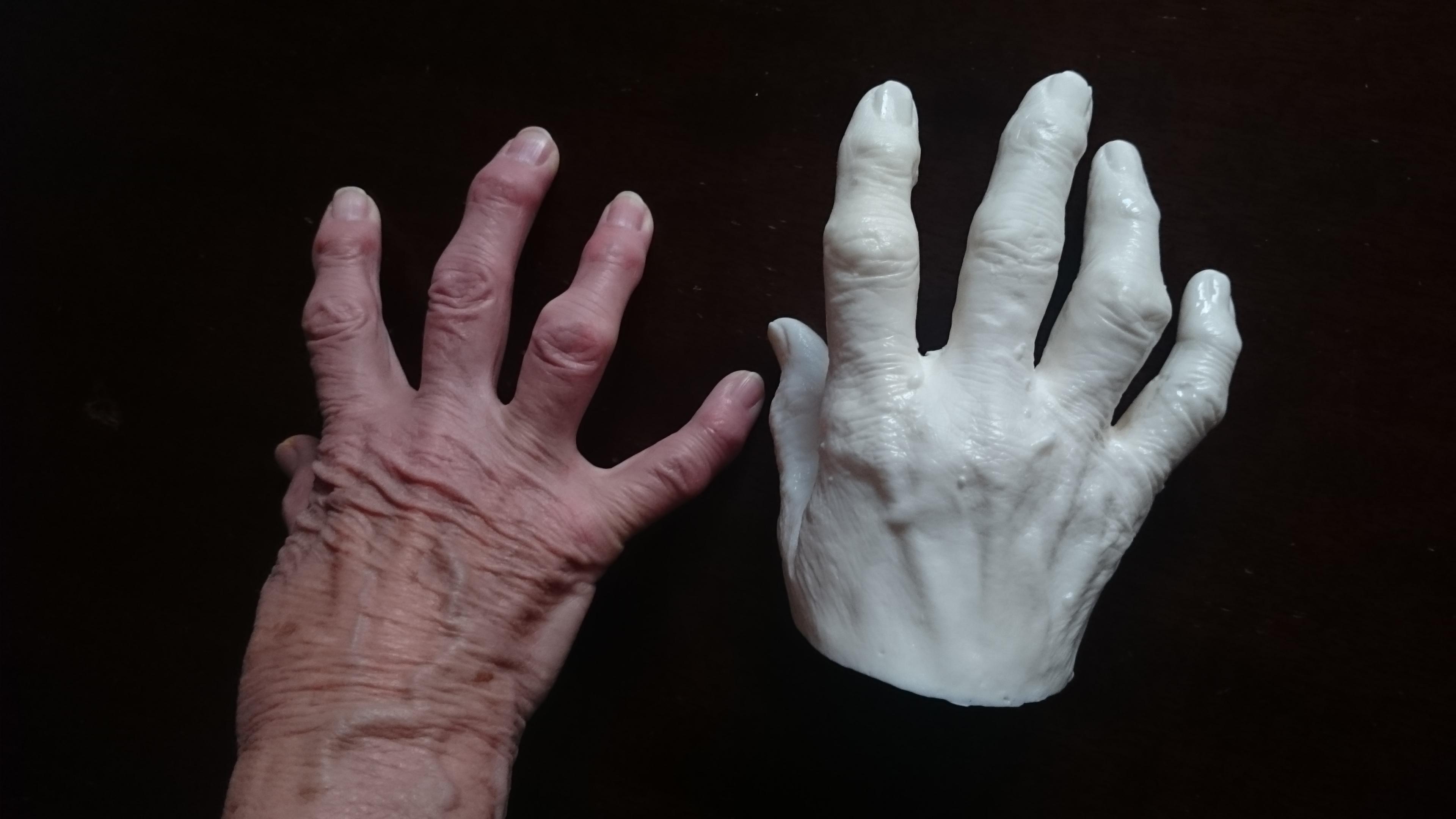 Resin copy of elderly hand