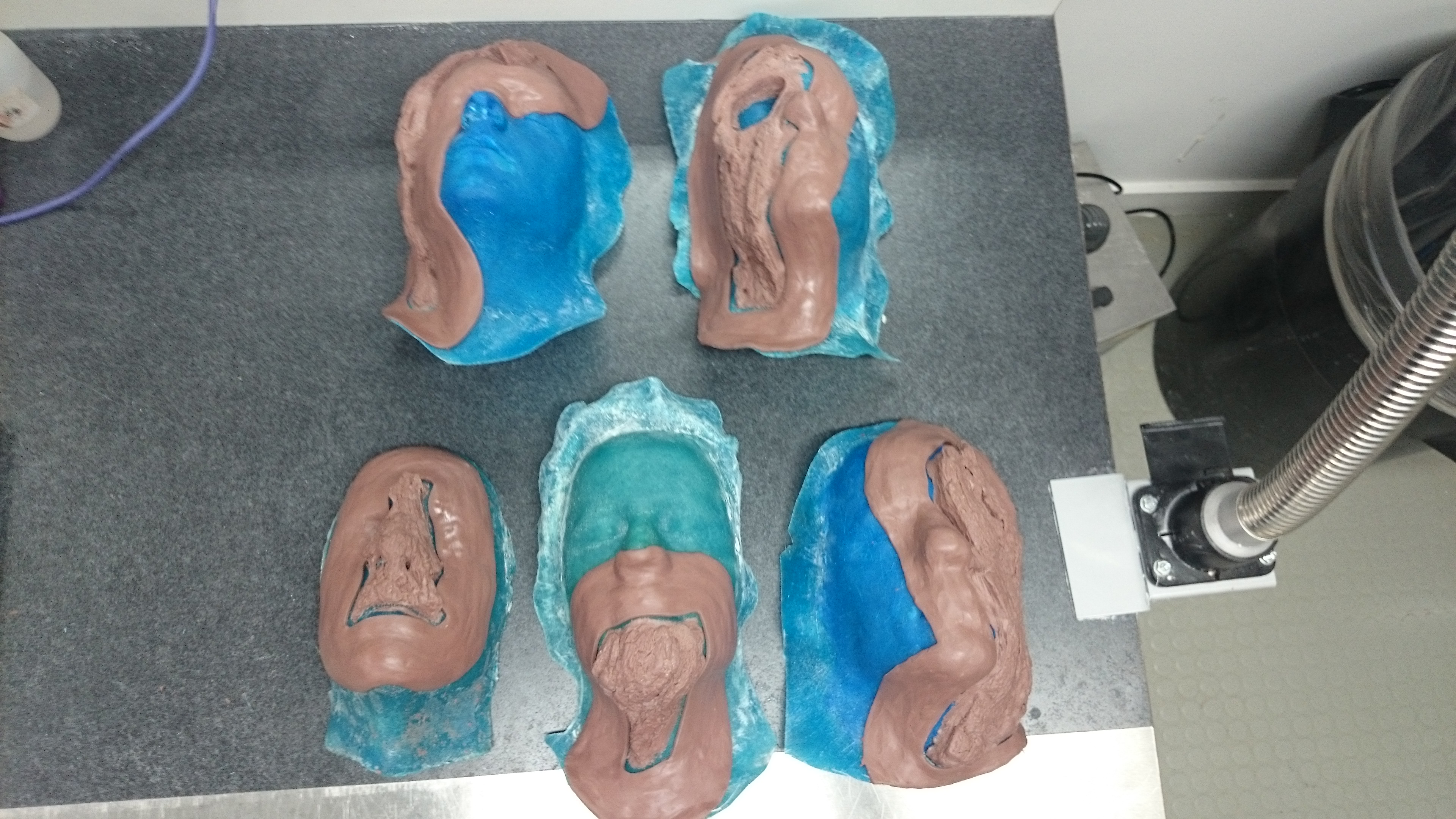 Floated sculpts for Tree Man makeup