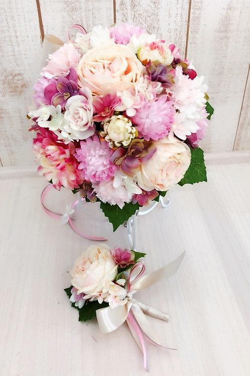 【送料込 3点セット】 高級感漂う大人可愛いブーケ ブートニア スタンド付き 人気のピンク